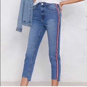 Jeans with a stripe down the side